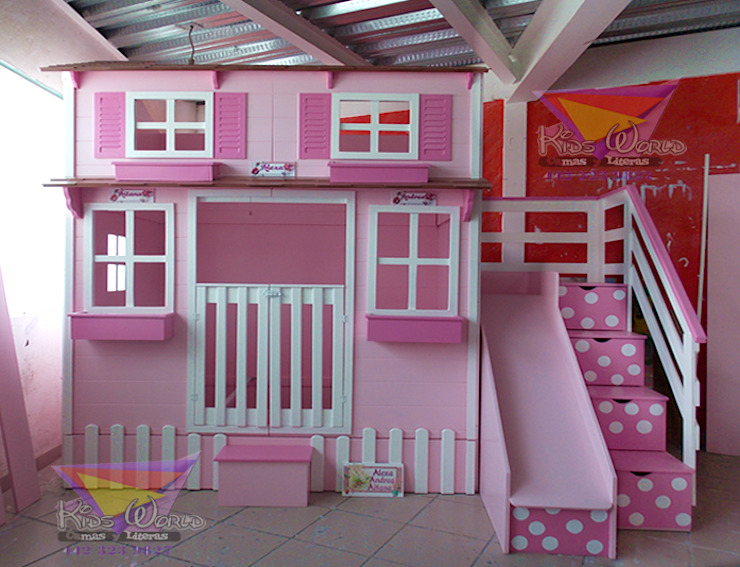 Hermosa casita con cama nido de camas y literas infantiles kids world Clásico Derivados de madera Transparente