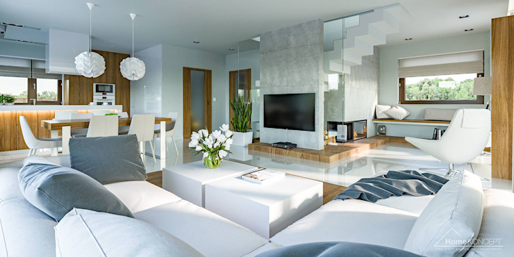 Ruang Keluarga oleh HomeKONCEPT | Projekty Domów Nowoczesnych, Modern