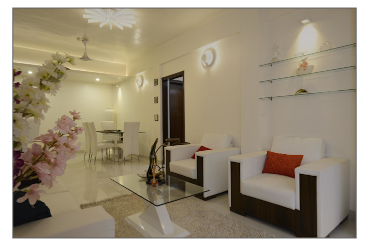 Residential Apartment on Bund Garden Road, Pune Modern balcony, veranda & terrace by Navmiti Designs Modern