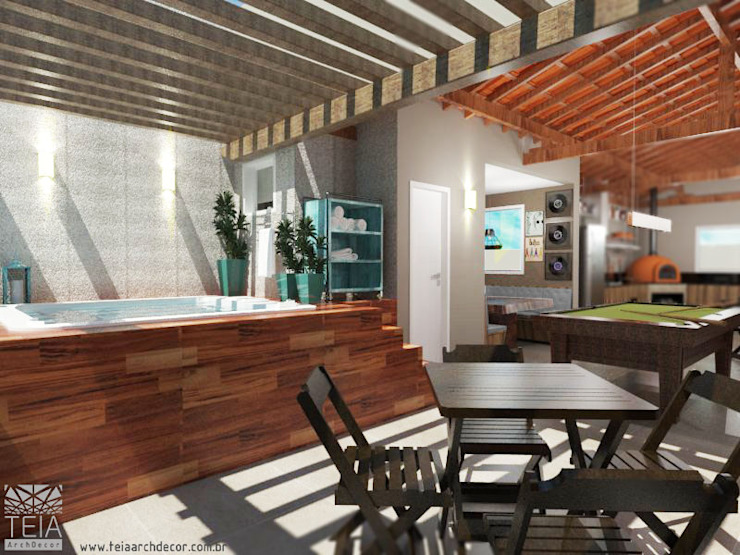 Teia Archdecor Rustic style balcony, veranda & terrace
