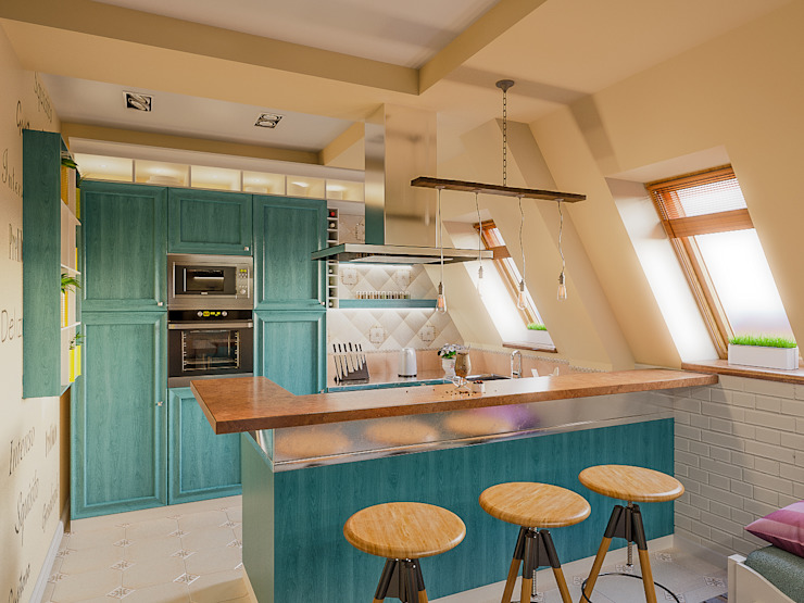 Квартира в Сочи Ателит Кухня в средиземноморском стиле Дерево