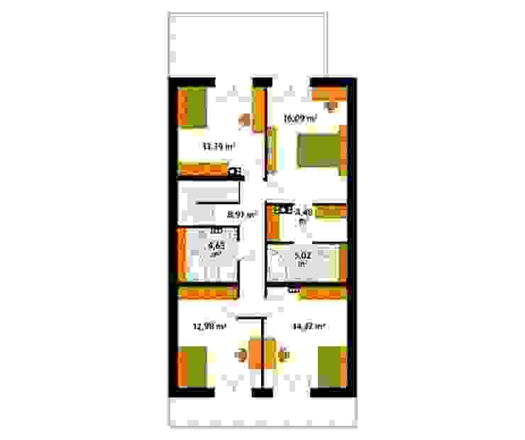 Rzut poddasza projektu domu Amarylis 4 Nowoczesne ściany i podłogi od Biuro Projektów MTM Styl - domywstylu.pl Nowoczesny