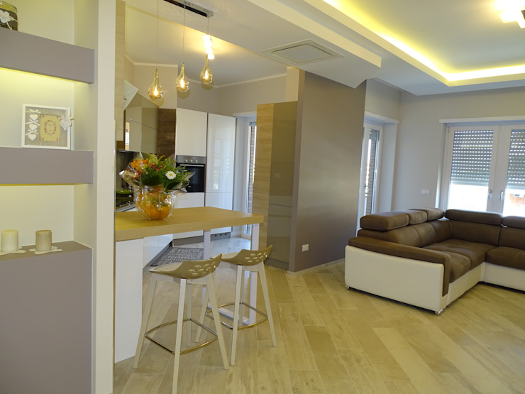 La cucina aperta sul living. Cucina moderna di NicArch Moderno