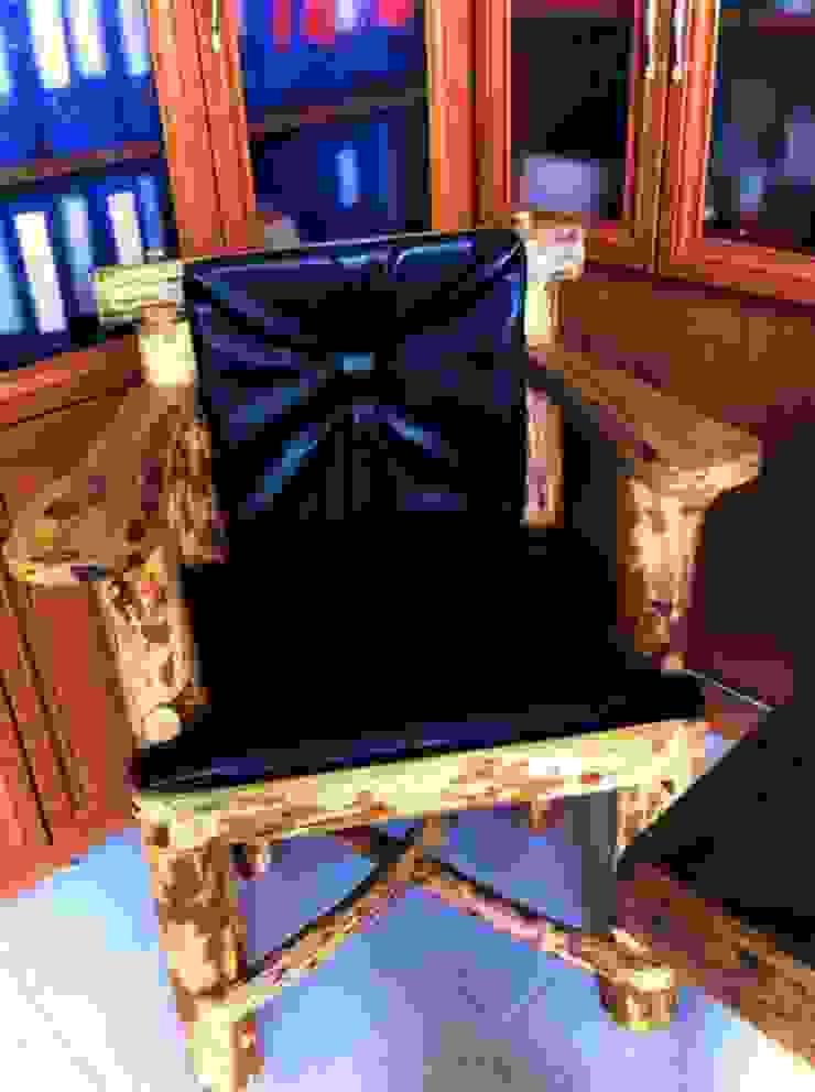 deri kaplama doğal ahşap sandalye Coşkun Ahşap Dekorasyon Rustik Ahşap Ahşap rengi