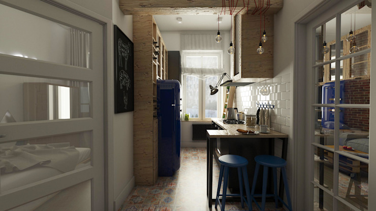 Industrial style kitchen by emc|partners Industrial Wood Wood effect