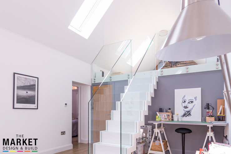 Where does this lead... Modern corridor, hallway & stairs by The Market Design & Build Modern