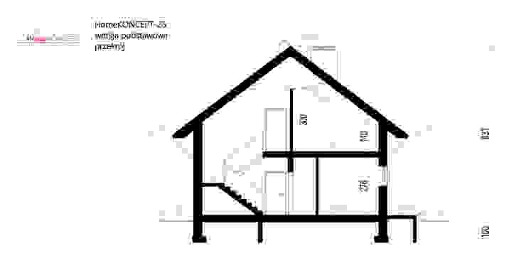 Projekt domu HomeKONCEPT-25- przekrój Nowoczesne domy od HomeKONCEPT | Projekty Domów Nowoczesnych Nowoczesny