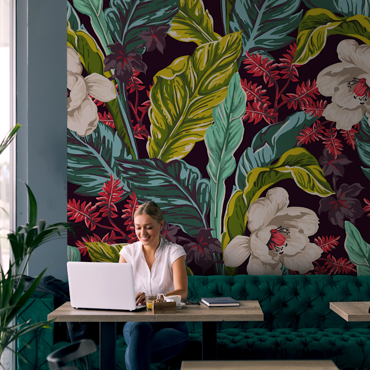 Exotic Flowers Pixers Tropical style walls & floors Multicolored