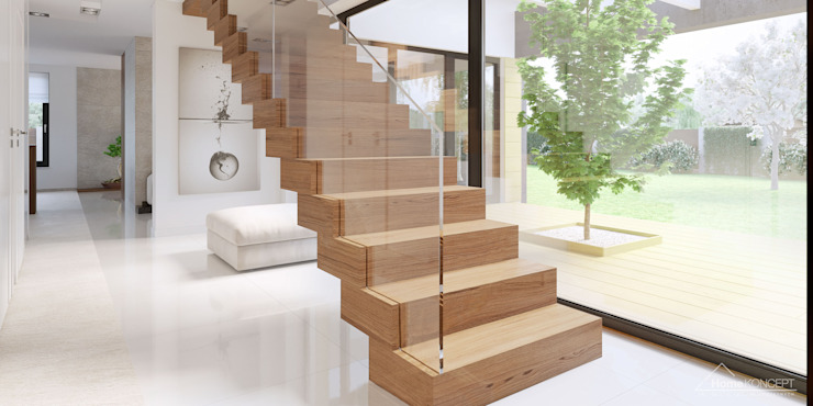 Modern corridor, hallway & stairs by HomeKONCEPT | Projekty Domów Nowoczesnych Modern
