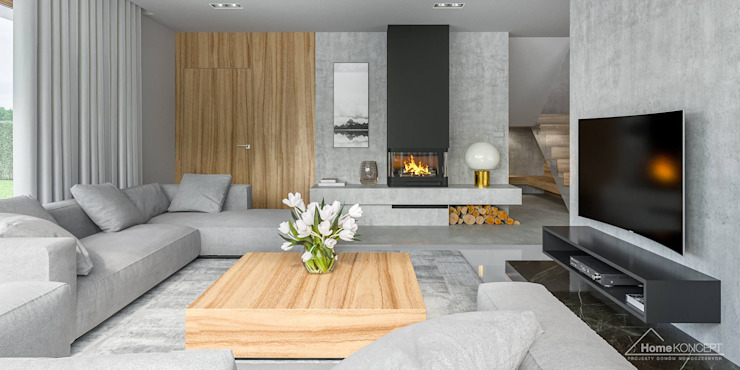 Salas de estilo moderno de HomeKONCEPT | Projekty Domów Nowoczesnych Moderno