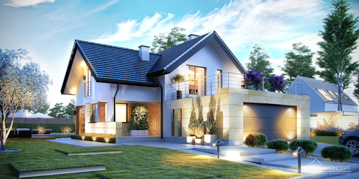บ้านและที่อยู่อาศัย โดย HomeKONCEPT | Projekty Domów Nowoczesnych,