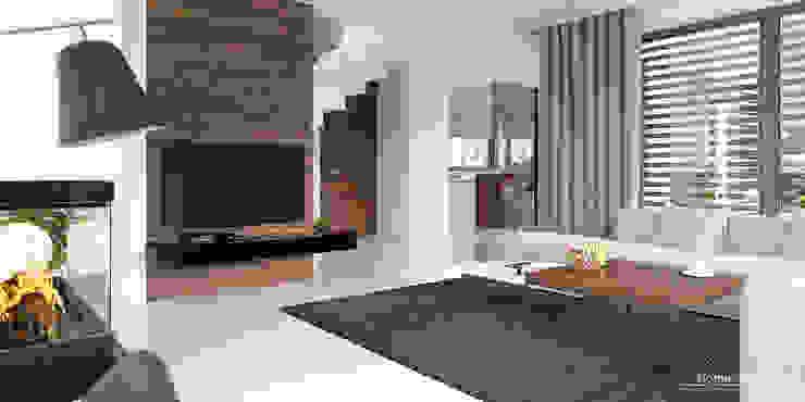 Salas / recibidores de estilo  por HomeKONCEPT | Projekty Domów Nowoczesnych, Moderno