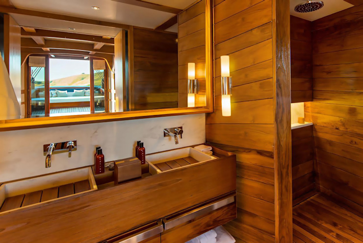 Master Bathroom Asian style yachts & jets by Deirdre Renniers Interior Design Asian Wood Wood effect
