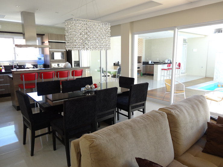 Casa SN Lozí - Projeto e Obra Salas de jantar modernas