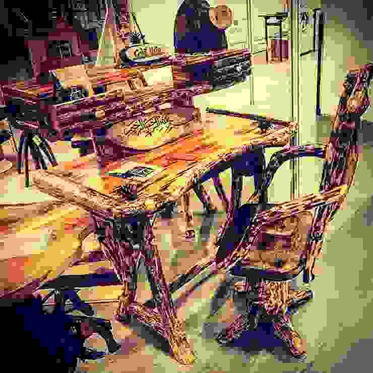 çalışma masası ve sandalyesi Coşkun Ahşap Dekorasyon Rustik Ahşap Ahşap rengi