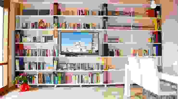 Custom bookcase Skaffa Modern Living Room by Piarotto.com - Mobilie snc Modern Engineered Wood Transparent