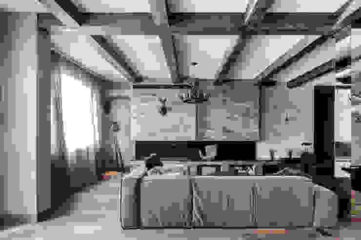 Квартира в стиле Современное шале Гостиная в рустикальном стиле от Дизайн Мира Рустикальный