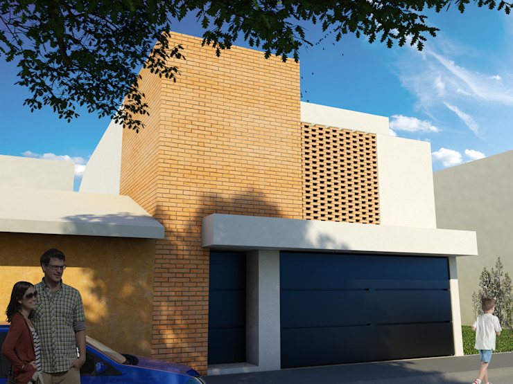 Modern Houses by Flores Rojas Arquitectura Modern Bricks