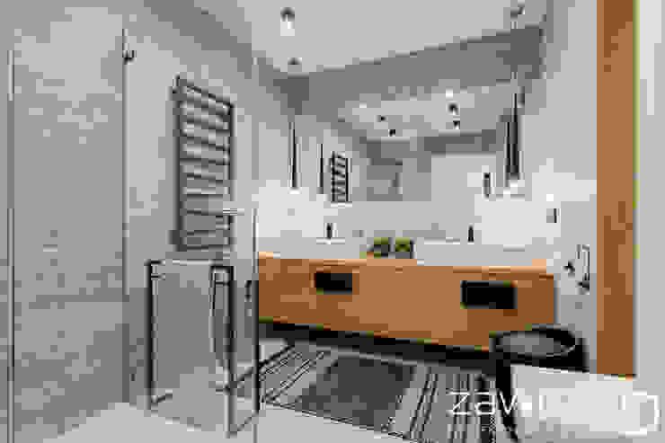 Scandinavian style bathroom by ZAWICKA-ID Projektowanie wnętrz Scandinavian Wood Wood effect