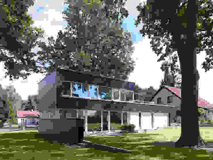 Nowoczesne domy od Justus Mayser Architekt Nowoczesny Drewno O efekcie drewna