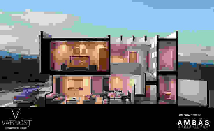 Corte Perspectivado Pasillos, vestíbulos y escaleras modernos de Ambás Arquitectos Moderno