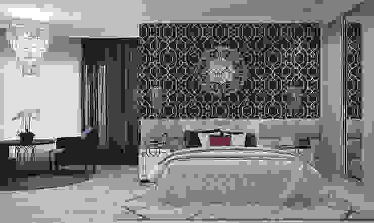 Квартира в Краснодаре - Изысканность стиля Спальня СТУДИЯ 'ДА' ДАРЬИ АРХИПОВОЙ Classic style bedroom Concrete Black