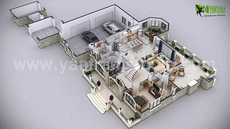 3D House Floor Plan Design por Yantram Architectural Design Studio