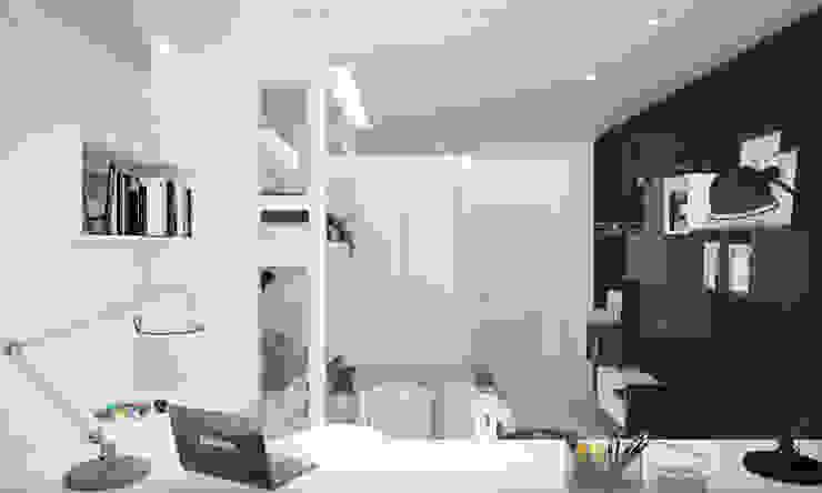 """Детская комната """"blue wall"""" Modern style bedroom by СТУДИЯ 'ДА' ДАРЬИ АРХИПОВОЙ Modern Ceramic"""