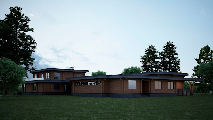 Проект дома в стиле райта Дома в стиле минимализм от homify Минимализм
