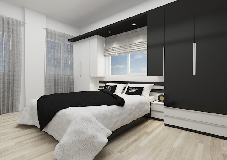 BM, Yatak Odası Minimalist Yatak Odası PRATIKIZ MIMARLIK/ ARCHITECTURE Minimalist Orta Yoğunlukta Lifli Levha