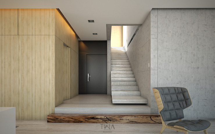 Modern corridor, hallway & stairs by TW/A Architectural Group Modern