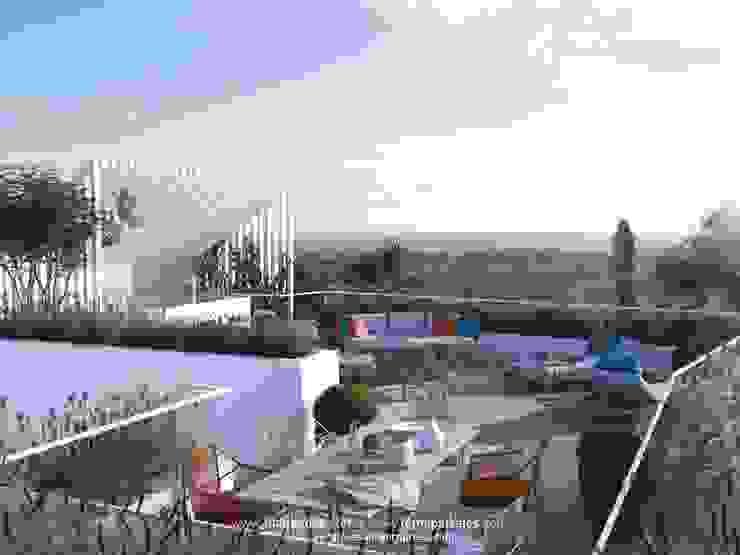 Vista Azotea LEMApaisajes Balcones y terrazas de estilo mediterráneo