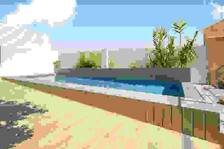 Imagen lateral de la piscina Aina Deyà _ architecture & design Piscinas de estilo mediterráneo