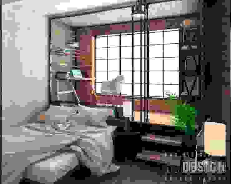Chambre industrielle par Студия дизайна интерьера 'REDESIGN' Industriel Briques