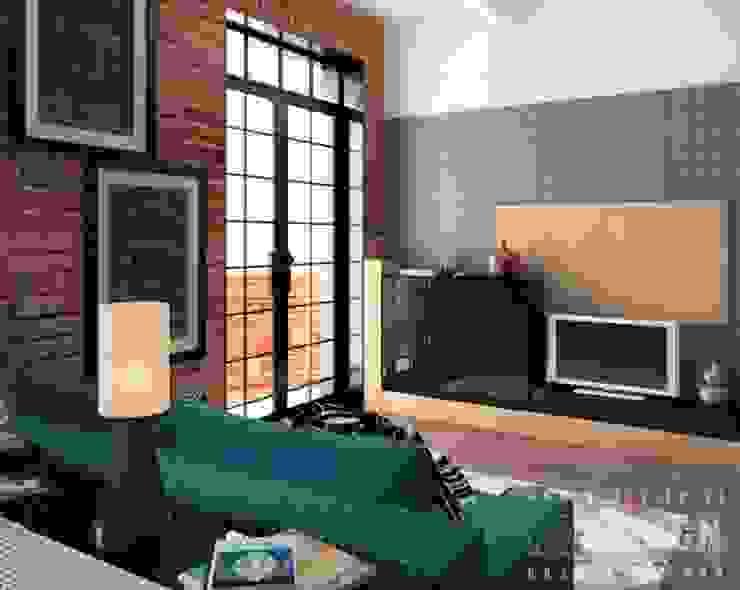 Phòng khách phong cách công nghiệp bởi Студия дизайна интерьера 'REDESIGN' Công nghiệp
