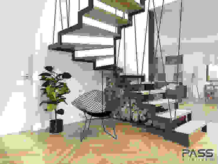 Couloir, entrée, escaliers scandinaves par PASS architekci Scandinave