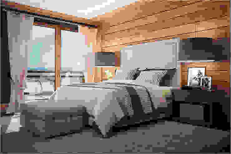 Дизан-проект шикарного дома в стиле шале Спальня в стиле кантри от GM-interior Кантри