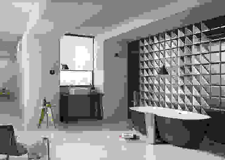 3D tegels in de badkamer Moderne badkamers van Sani-bouw Modern Tegels