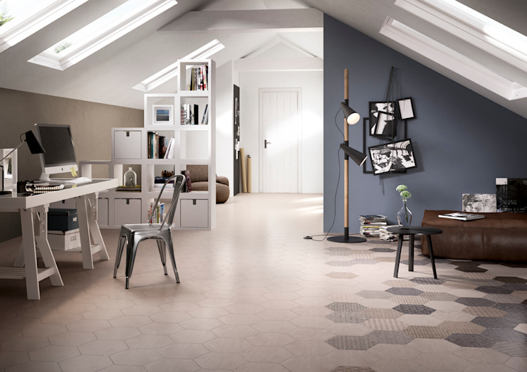 Stijlvolle ideeën met tegels voor de gehele woning Industriële woonkamers van Sani-bouw Industrieel Tegels