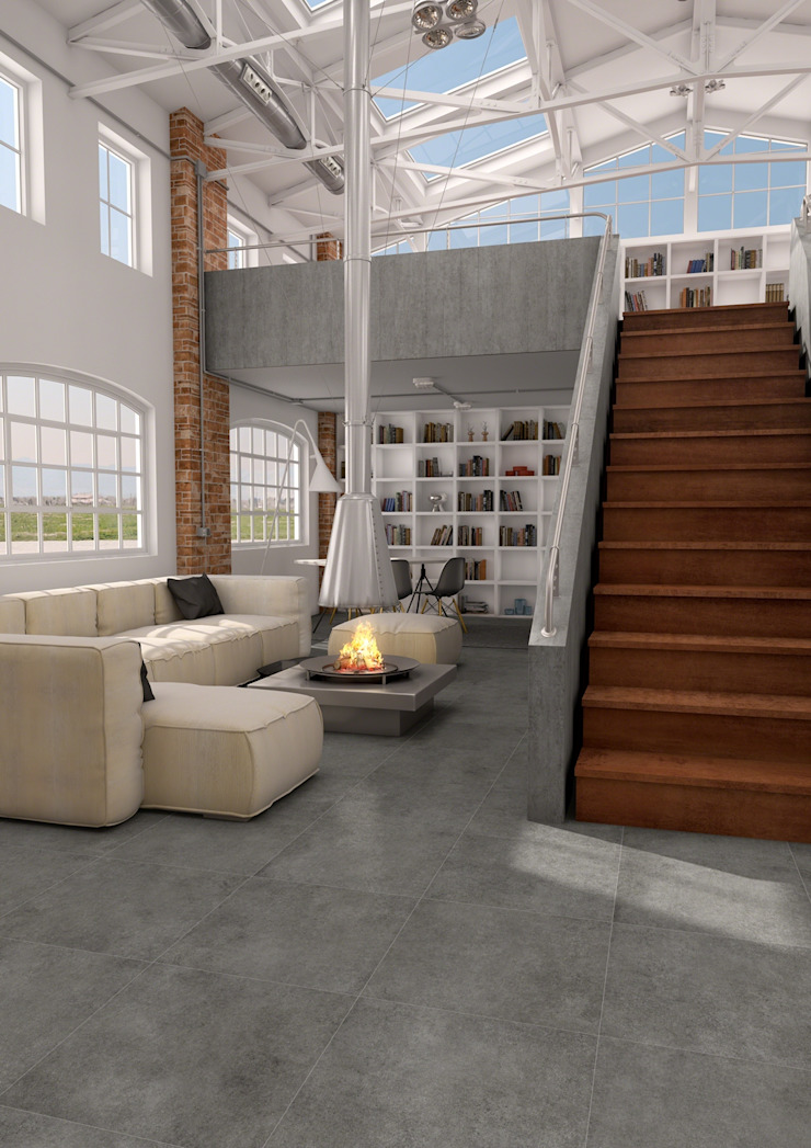 Ontwerp uw woonkamer met tegels Industriële woonkamers van Sani-bouw Industrieel Tegels