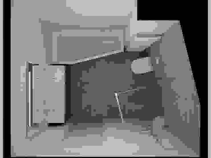 3D badkamer ontwerp met zichtbaar lijnenspel Moderne badkamers van Sani-bouw Modern Tegels
