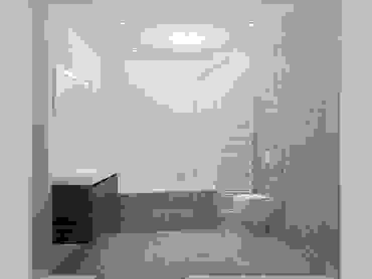 Een aantrekkelijk lijnenspel Moderne badkamers van Sani-bouw Modern Tegels