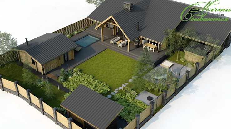 Country style house by Компания архитекторов Латышевых 'Мечты сбываются' Country Wood Wood effect