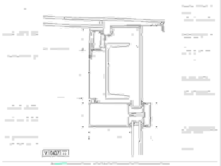 Techo de vidrio - Frente integral - Detalle en corte de mm ARQUITECTOS