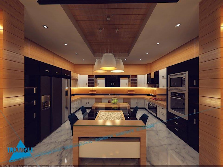 triangle Modern Kitchen Wood effect