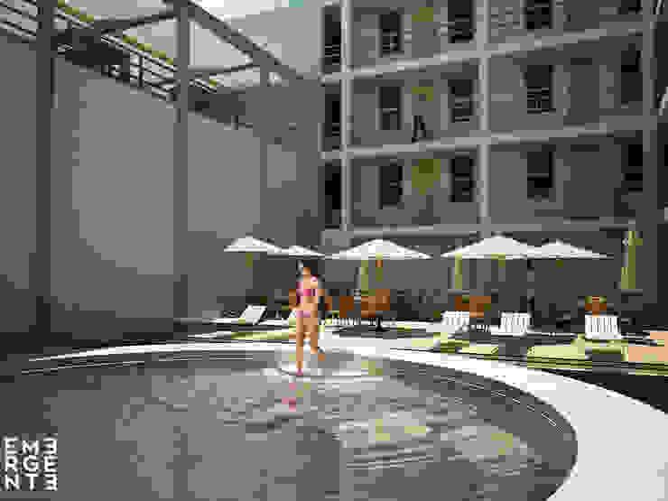 ALBERCA TERMAL Hoteles de estilo minimalista de homify Minimalista Piedra
