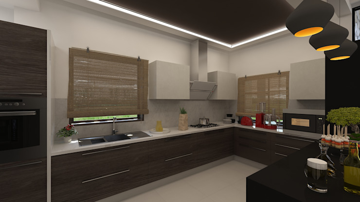 Kitchen and Breakfast Counter by Ghar360