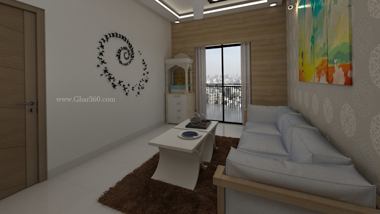 Living Room - Pooja Mandir and Seating by Ghar360