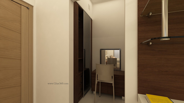 Master Bedroom Wardrobe and Dressing Table by Ghar360