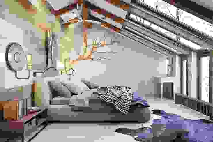 Дерево в помещение позволяет ощущать непосредственную связь с природой Спальня в стиле лофт от Дизайн студия Алёны Чекалиной Лофт